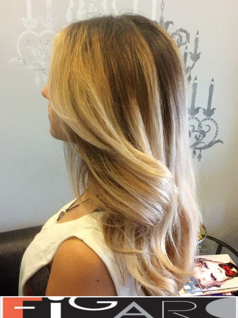 Dirty blonde to Platinum blonde Obmre balayage by Figaro - BEST TORONTO's HAIR SALON
