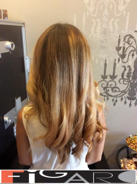 Warm Brown Strawberry blonde balayage by Figaro - BEST TORONTO's HAIR SALON