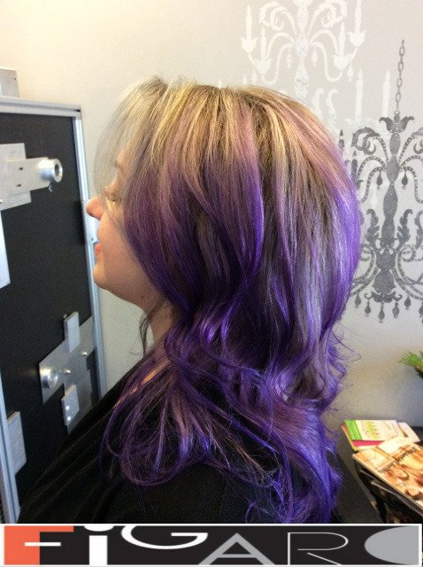 Purple balayage by Figaro - BEST TORONTO's HAIR SALON