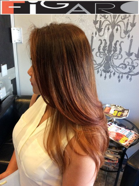 Dark Brown Rose Gold Ombre Balayage Asian Hair by Figaro - BEST TORONTO's HAIR SALON