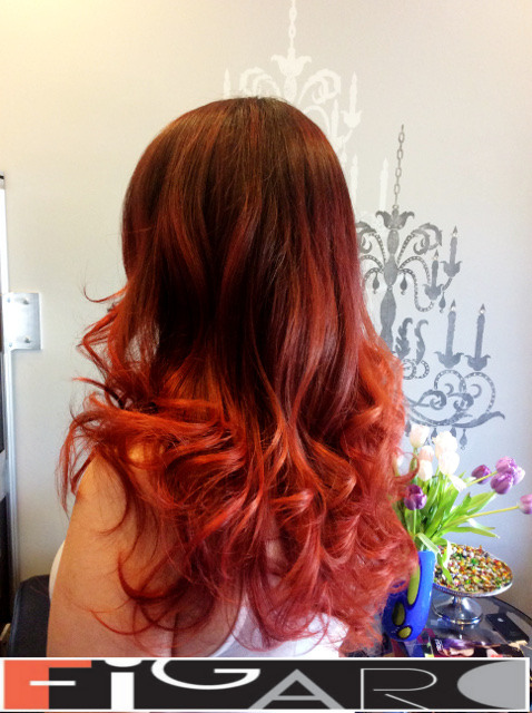 Purple Intense Red balayage hair by Figaro - BEST TORONTO's HAIR SALON