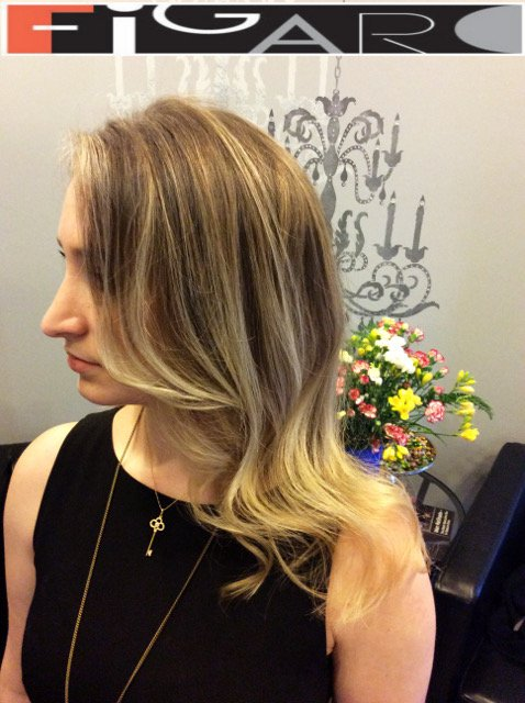 Dirty blonde Dark Lowlights balayage by Figaro - BEST TORONTO's HAIR SALON