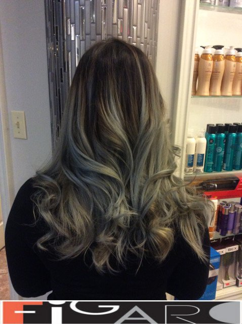balayage hair Silver to Black by Figaro - BEST TORONTO's HAIR SALON