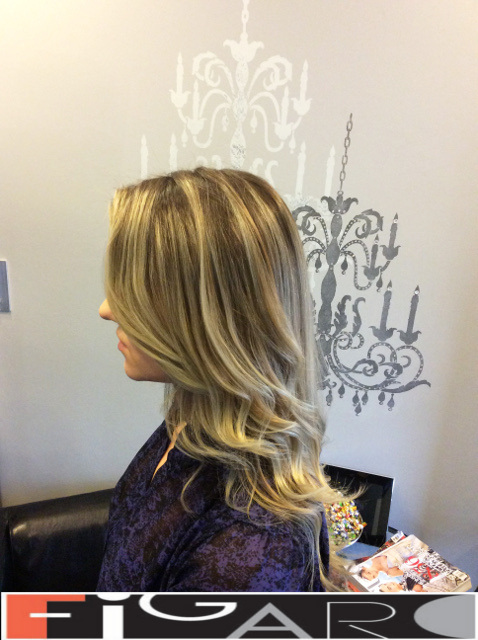 blonde streaks Balayage , Dark Roots by Figaro - BEST TORONTO's HAIR SALON