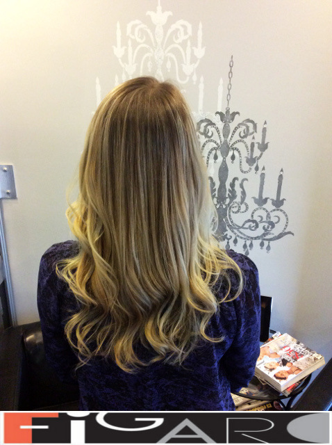 blonde streaks Balayage, Dark Roots by Figaro - BEST TORONTO's HAIR SALON