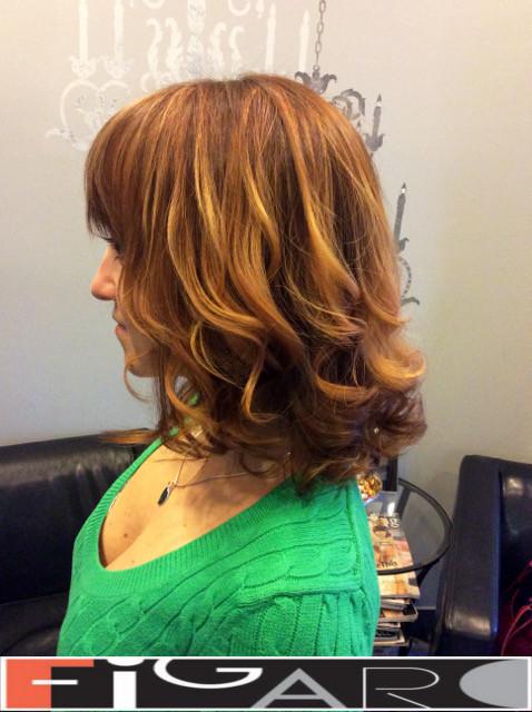 Rose Honey balayage hair, Lob Cut by Figaro - BEST TORONTO's HAIR SALON