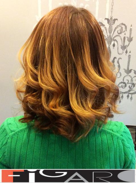Rose Honey balayage hair, Medium Length by Figaro - BEST TORONTO's HAIR SALON