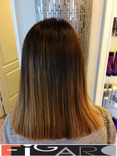 Caramel Sombre Hair, Medium Lengthdone by figaro salon