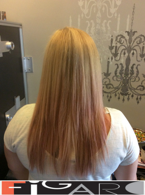 Blonde Hair, Soft Pink Ombre, Medium Length by Figaro - Best Toronto's Hair Salon