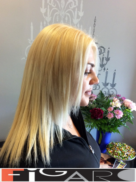 Platinum Blonde Hair, Shoulder Length. Olaplex by Figaro - Best Toronto's Hair Salon