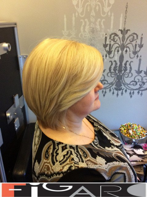 Blonde hair with Platinum Highlights, Bob Style by Figaro - Best Toronto's Hair Salon