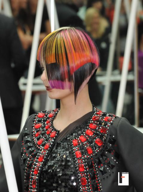 short Hair cut multiple colour at omc europe cup 2013 by elena Figaro Hair Salon Toronto