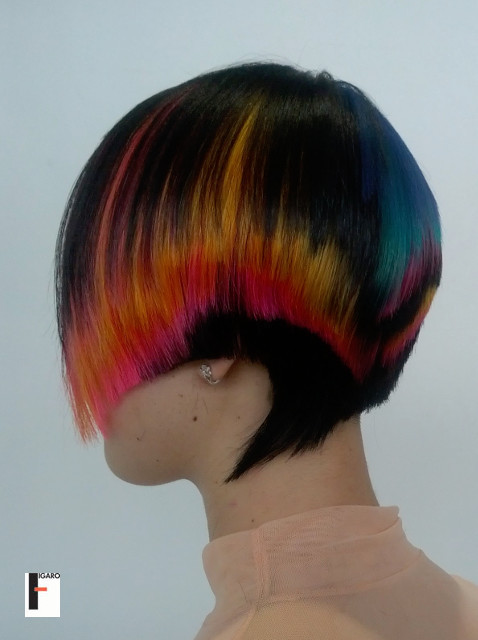 short Hair cut multiple colour at Moscow cup 2013 by elena Figaro Hair Salon Toronto