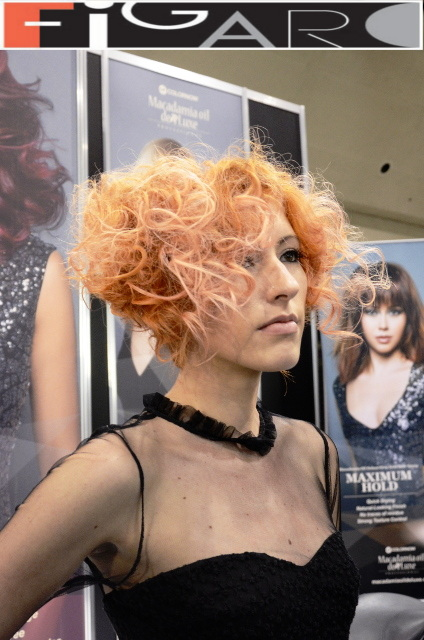 Graduated Bob Curly Hair Cupper Hair soft Pink Highlights at ABA TORONTO 16 by Figaro - Best Toronto's hair Salon