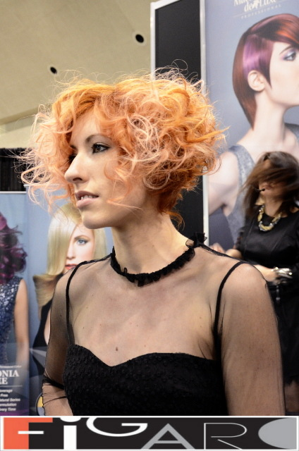 Graduated Bob Curly Hair Cupper Hair soft Pink Highlights by Figaro - Best Toronto's hair Salon