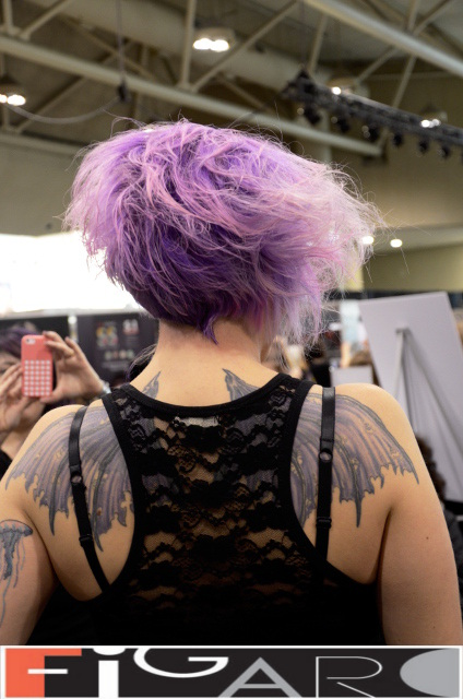 Lavender Purple w pink highlights Funky Messy Short Bob Cut at ABA TORONTO 16 by Figaro - Best Toronto's hair Salon