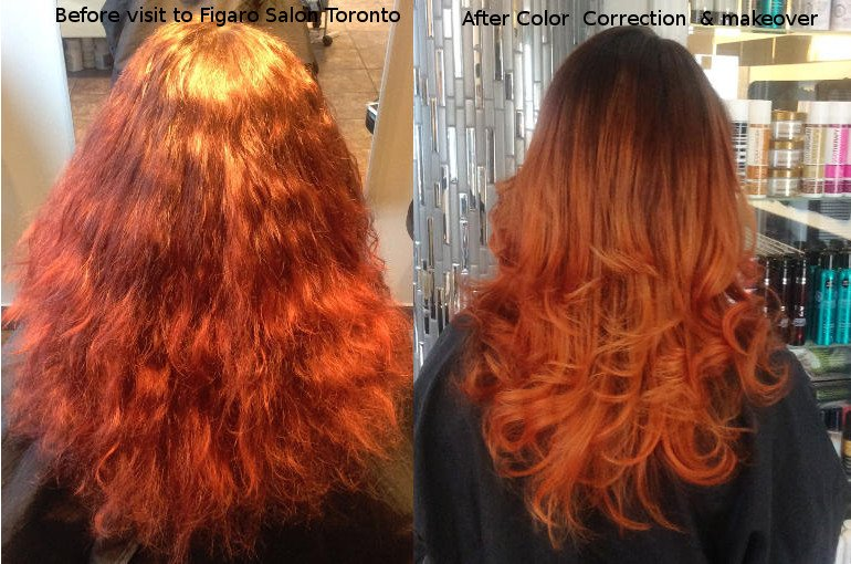 Hairs Before and after by Figaro salon place where to Fix hair color in Toronto