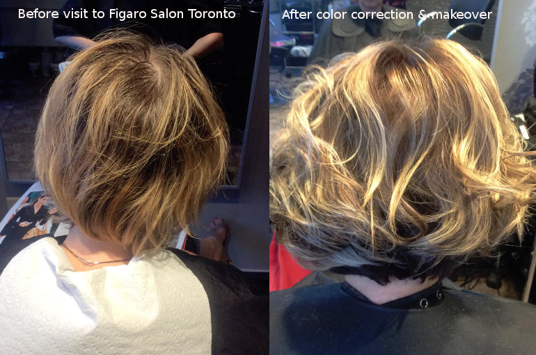 Hairs Before and After by Figaro Salon Toronto. We are color correction Experts in Toronto