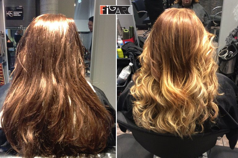 Hairs Before and after hair color correction by Figaro salon in Toronto
