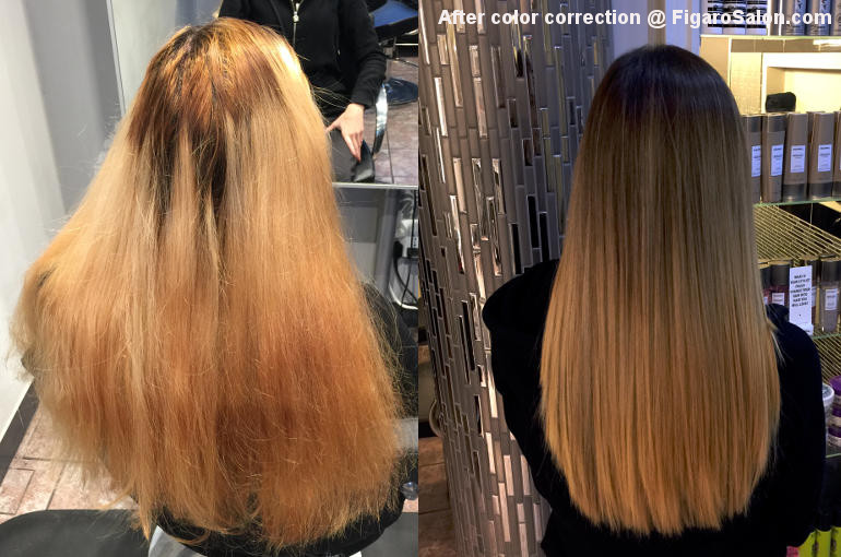 Hairs Before and After By Figaro Salon team Top Quality Hair color correction makeover Salon Toronto Area