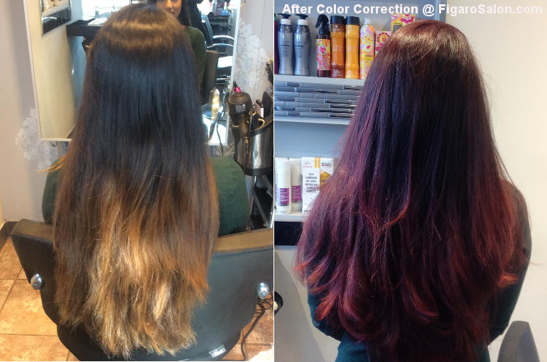 Hairs Before and After by Figaro salon Team.Quality Hair color correction makeover Salon Toronto