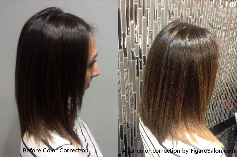 Hairs Before and After by Figaro salon Team.Quality Hair color correction  makeover in Great Toronto