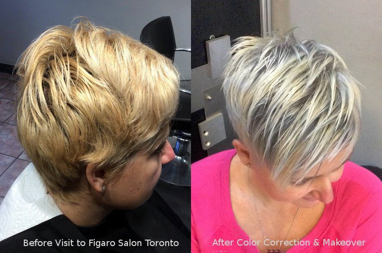 Hairs Before and After by Figaro salon Team. Top Quality Hair color correction makeover in Great Toronto