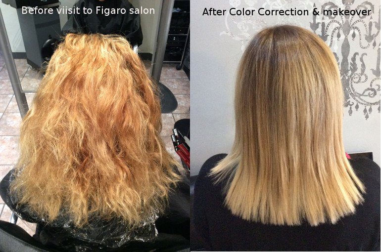 Before color correction and after