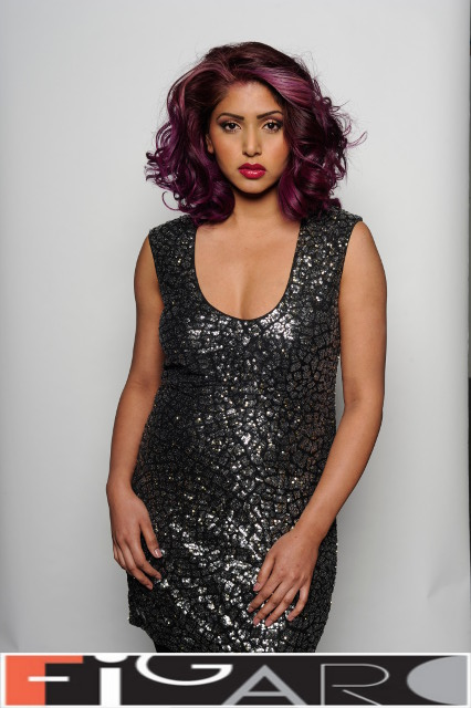 Purple Hair Color Big Curls Volume by Figaro - Best Toronto's hair Salon