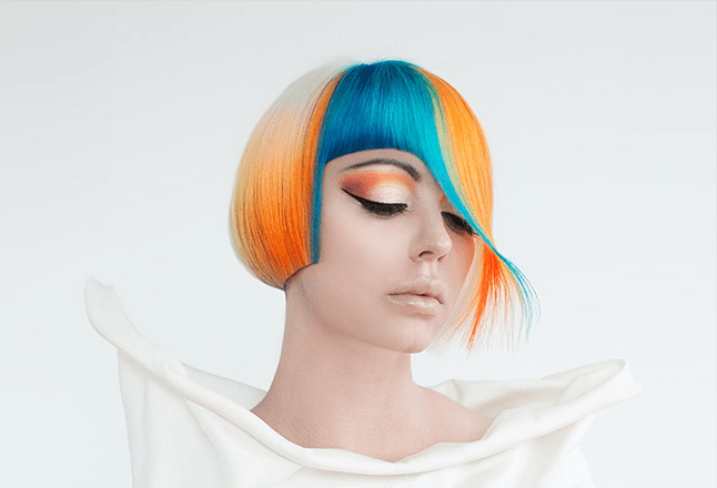 orange turquoise coloring by Figaro salon Art Director selected as best Canadian Entry for Goldwell Colorzoom