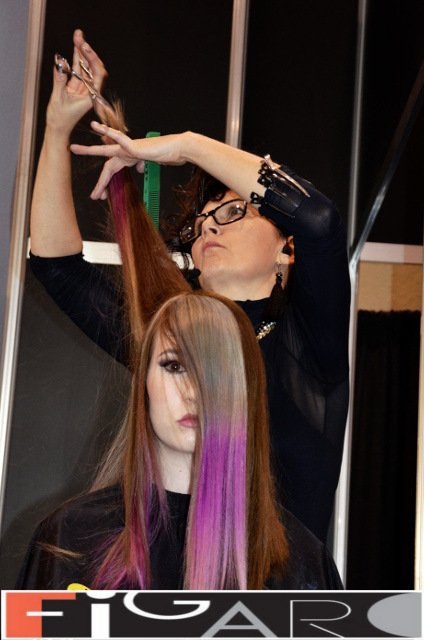 Pink with Silver color Long hairs Elena's work at ABA TORONTO - Best Toronto's hair Salon