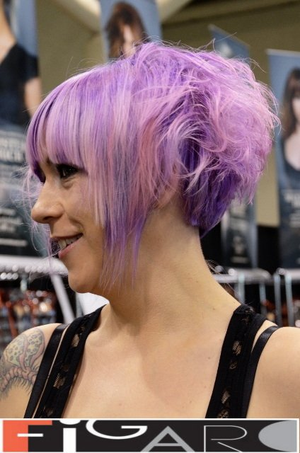 Lavender Purple w pink highlights Funky Messy Short Bob Cut at ABA TORONTO by Figaro - Best Toronto's hair Salon