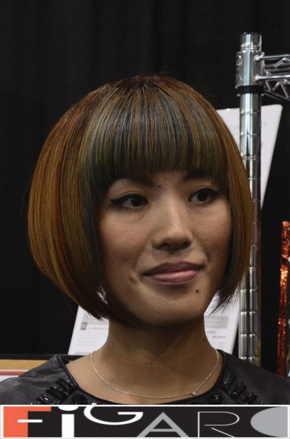 Lob Cut (Long Bob), Blonde Rose and Grey Streaks at ABA TORONTO 16 Asian Hair by Figaro - Best Toronto's hair Salon