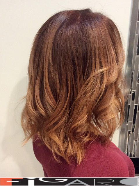 Caramel Balayage Highlights by Award winning Figaro Salon-BEST in Toronto. We use Olaplex L'oreal Goldwell