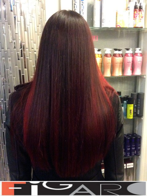 balayage Ombre Purple to Red Award winning  Figaro Salon-BEST in Toronto.