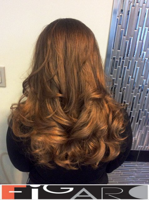 Caramel Brown Hair balayage by Figaro We use Olaplex L'oreal Goldwell