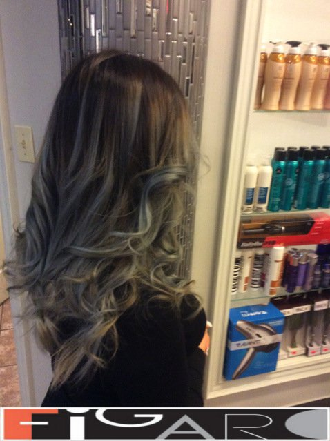 balayage hair Silver to Black We use Olaplex L'oreal Goldwell
