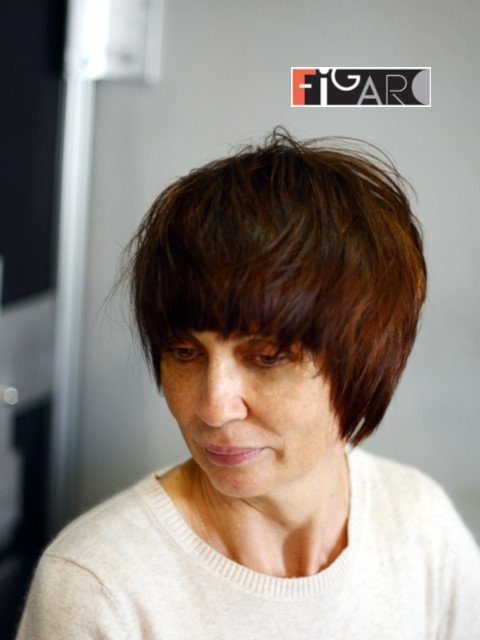 Assymentrical Short Bob Cut  Brown Hair by Figaro Salon february 2019