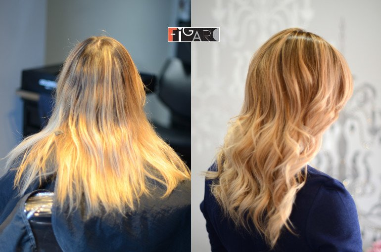 Color correction to Gold Rose Balayage 2019