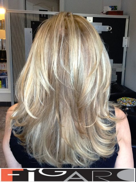 Highlights Lowlights Medium layers Haircut Award winning  Figaro Salon-BEST in Toronto.