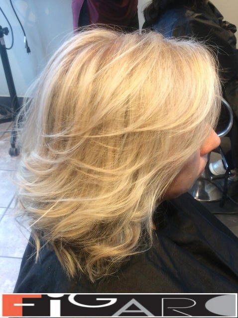 Platinum Highlights by Award winning Figaro Salon in Toronto. We use Olaplex L'oreal Goldwell
