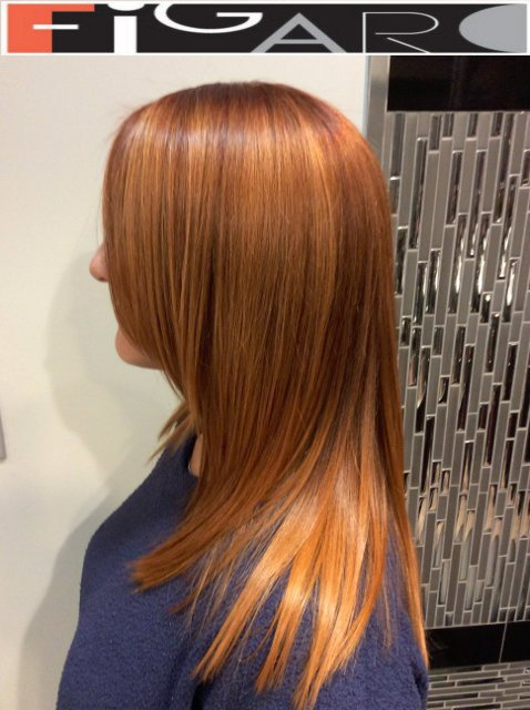 Ginger hair colored with honey caramel highlights. We use Olaplex L'oreal Goldwell