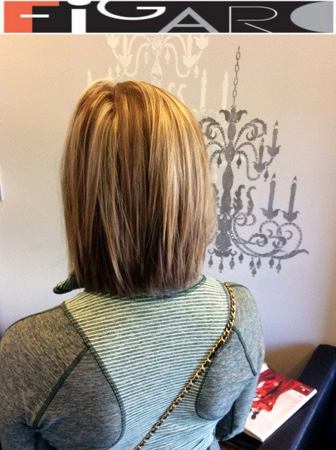 Highlights Lowlights Lob Cut by Figaro Salon-BEST in Toronto.