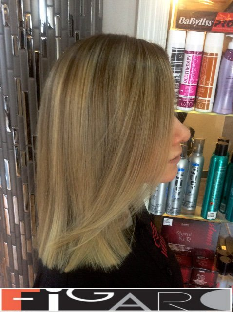 Lob(Long Bob) hair cut with Ombre Balayage done by Figaro - Best Toronto's hair Salon