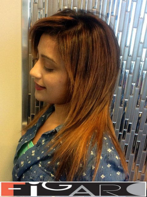 Long bob Cut Bronze Ombre Balayage for Brunette done by Figaro - Best Toronto's hair Salon