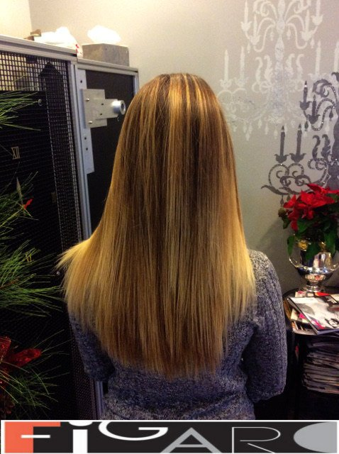 Long Layers Sombre Blonde Streaks Figaro Hair Salon Toronto