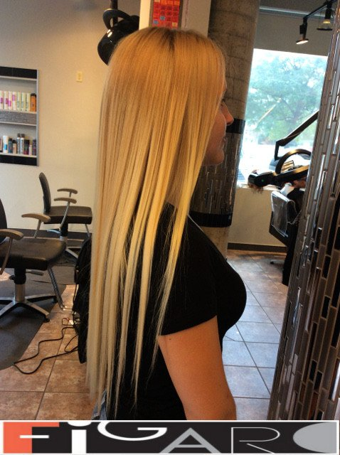 Light Blond w long layers Hairstyle by Figaro Hair Salon Toronto