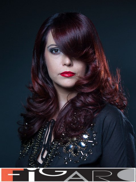 Multi Red w long layers style by Figaro Hair Salon Toronto