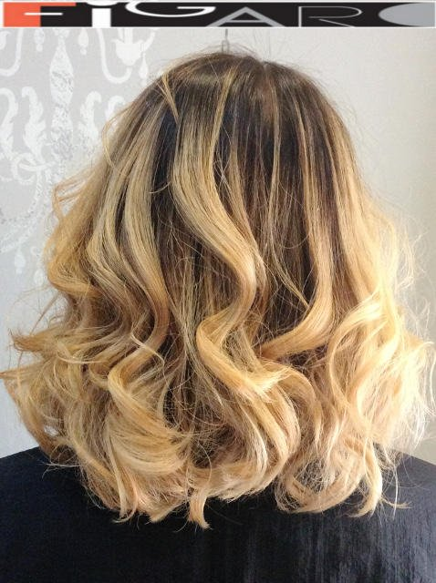 Light Blonde Ombre Balayage Medium layers Hair cut by Figaro Hair Salon Director