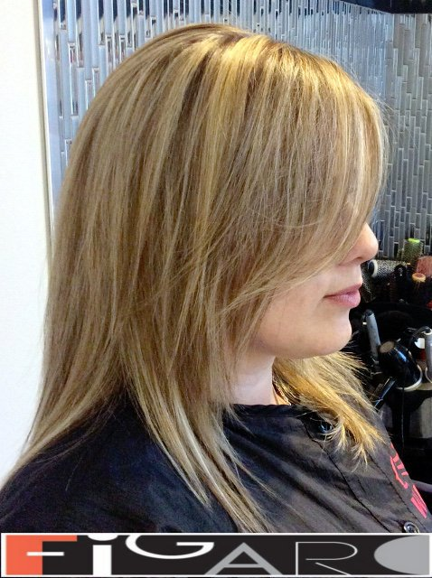 Hair Highlight and layered cut by Figaro Top Hair Salon in Toronto